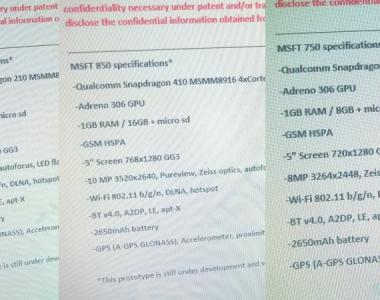 [Rumeurs] Les «peut-être» spécifications des Lumia 550, 750 et 850
