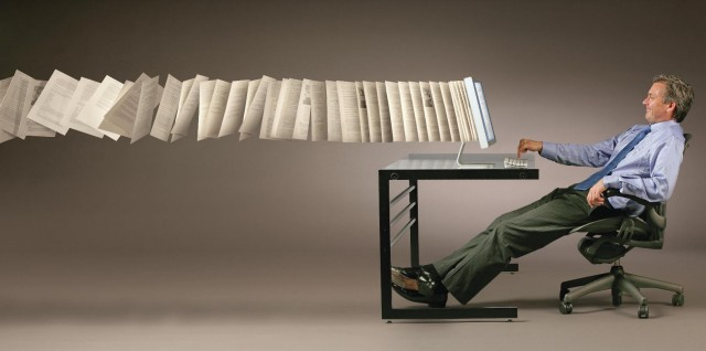 man documents computer illustration