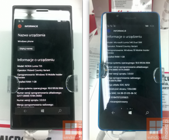 Lumia 540 735 Windows 10 Mobile TP