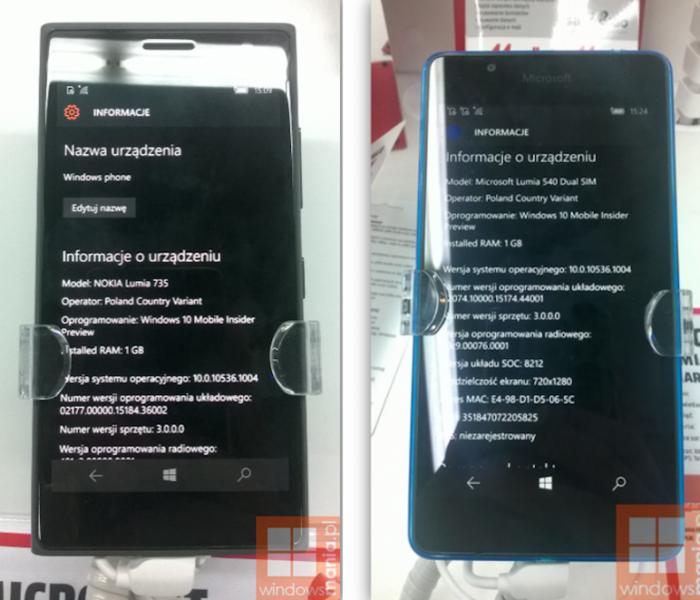 Des Lumia sous Windows 10 Mobile en vente en Pologne