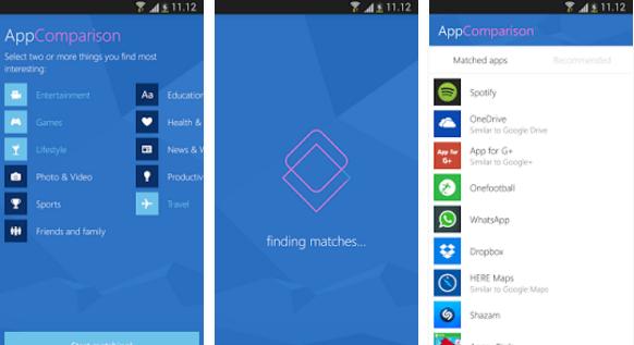 Microsoft AppComparison Google Android Screens