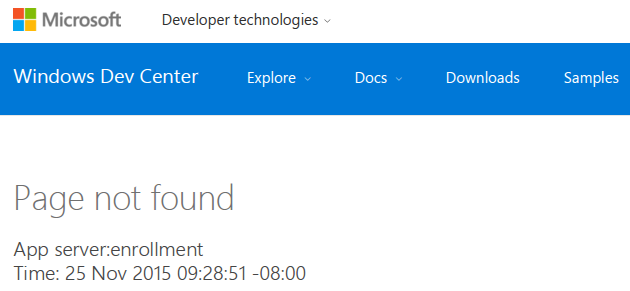 Microsoft Astoria Page Not Found