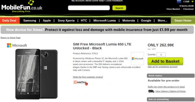 Microsoft Lumia 650 MobileFun UK