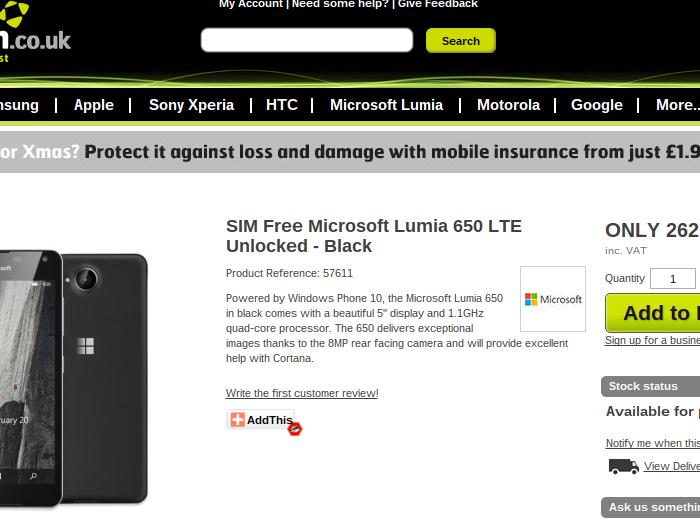 [Leak]  Le Microsoft Lumia 650 s'affiche sur MobileFun UK !