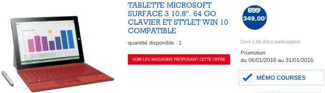 Soldes Microsoft Surface 3 64 Go E Leclerc