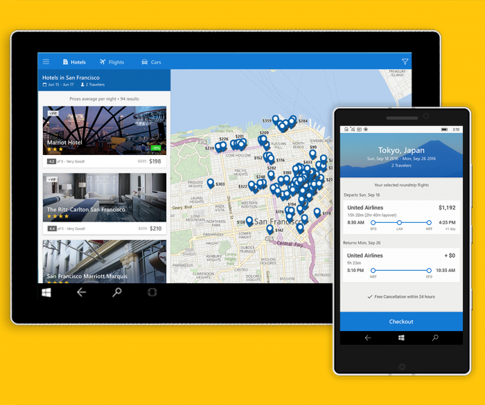 [UWP]  Expedia lance son application Windows 10 universelle