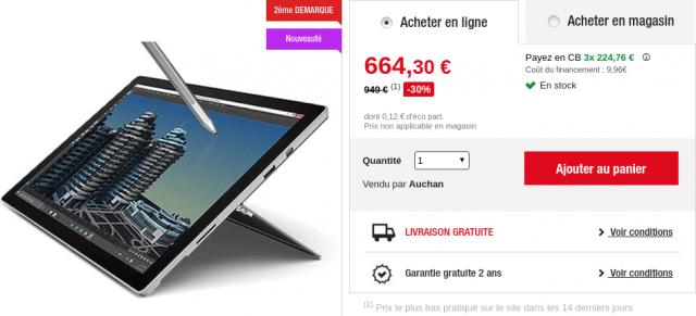 Soldes Microsoft Surface Pro 4 Auchan