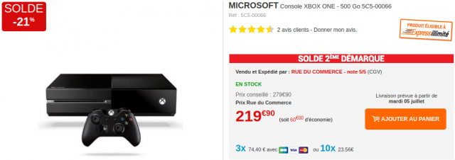 soldes xbox one 500 go 219 chez rue du commerce. Black Bedroom Furniture Sets. Home Design Ideas