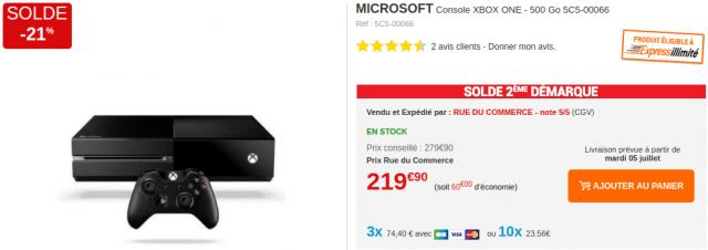 Soldes Xbox One 500 Go RdC