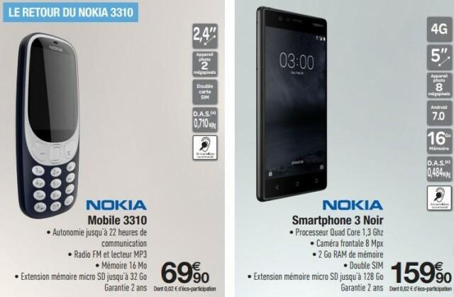 Nokia 3310 Nokia 3 Carrefour