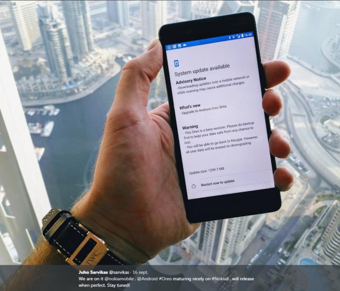 HMD teases Android Oreo sur le Nokia 8 avec une photo