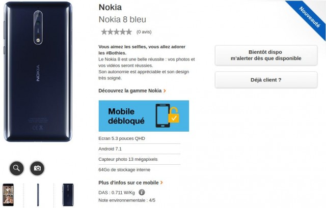 Nokia 8 bleu ORANGE