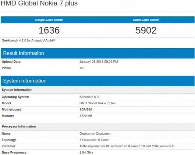 HMD Nokia 7 Plus Geekbench