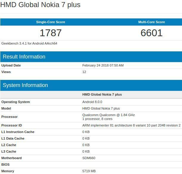 Nokia 7 Plus 6GB Geekbench