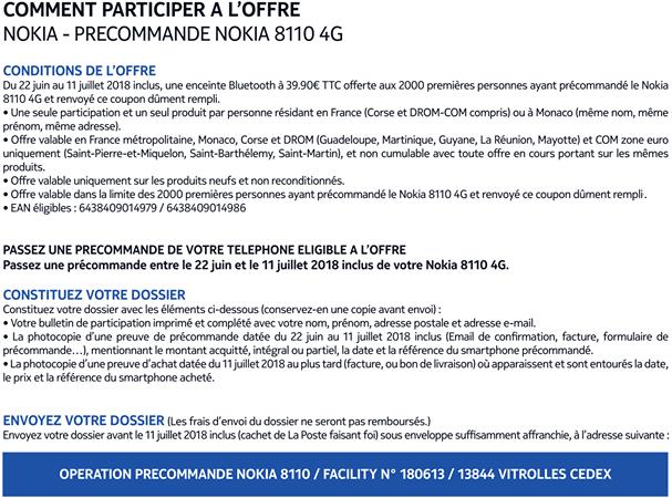 Nokia 8110 4G PRECOMMANDE OFFRE