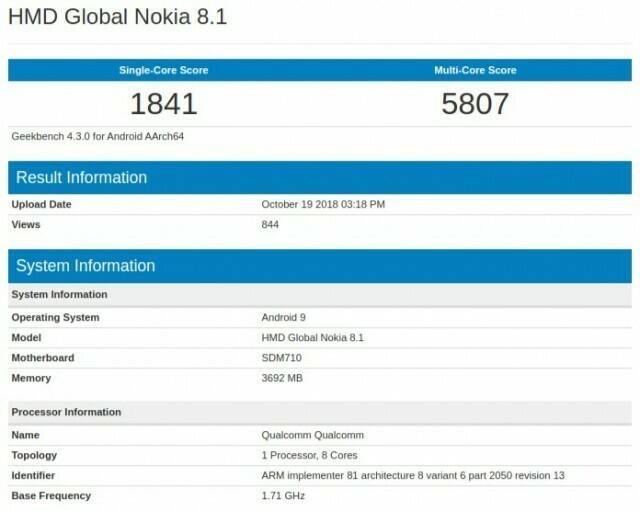 Nokia 8 1 Geekbench