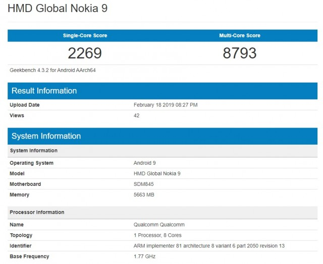 HMD Global Nokia 9 Geekbench