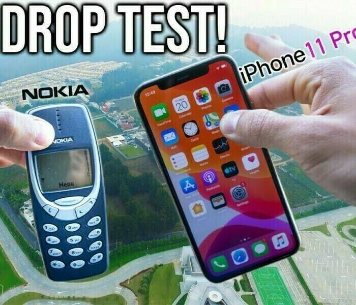 [Vidéo]  Chute de 300 mètres d'un Nokia 3310 Vs iPhone 11 Pro