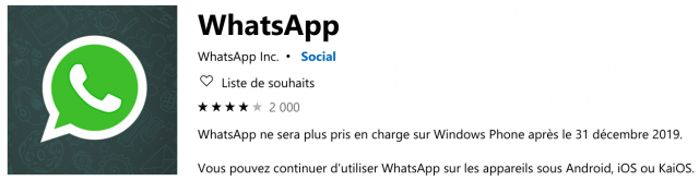 WhatsApp Windows Store