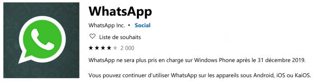 WhatsApp Windows Store